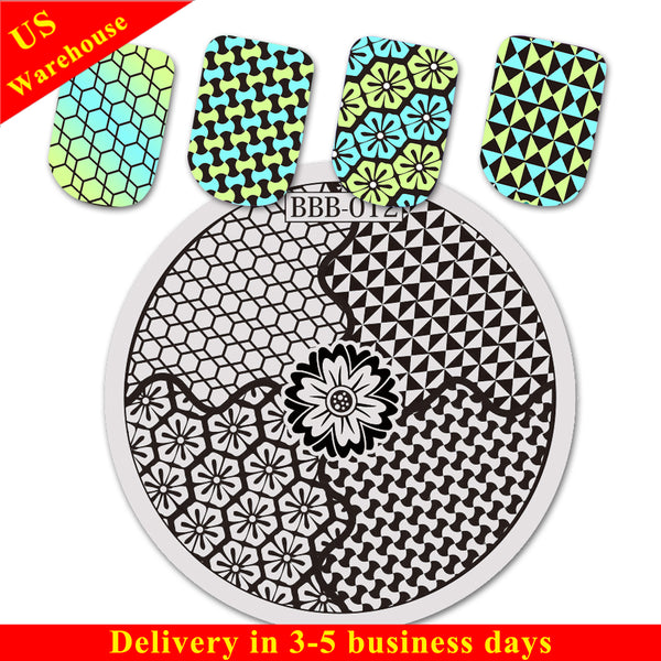 Flower Theme Geometric Design Circle Nail Art Stamping Plate BBB-012 (US Warehouse)