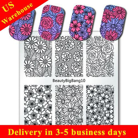 Sun Floral Nail Stamping Plate Rose Flower Pattern Nail Accessory (US warehouse)