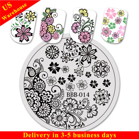 Floral Theme Circle Nail Art Stamping Plate For Manicure BBB-014 (US Warehouse)