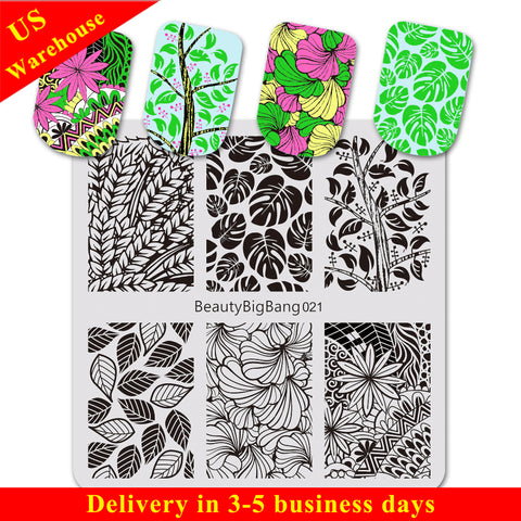 Floral Theme Square Nail Art Stamping Plates Leaf Design For Manicure BBBS-021