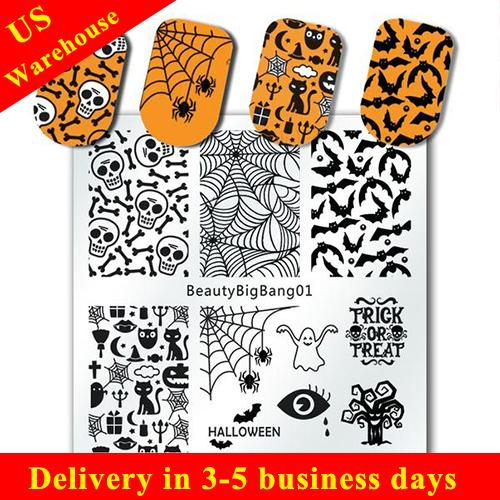 Halloween Bat Nail Art Stamping Plate Spider Cobweb Skull Theme For Manicure (US warehouse)