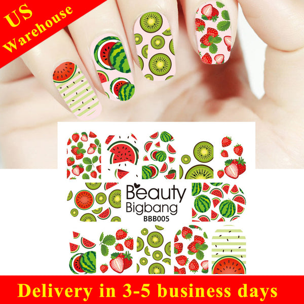 Fruit Series Water Decals Transfer Nail Art Stickers Decoration BBB005