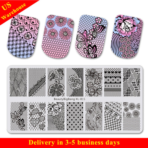 Lace Theme Rectangle Nail Stamping Plate Floral Patterns For Manicure BBBXL-015