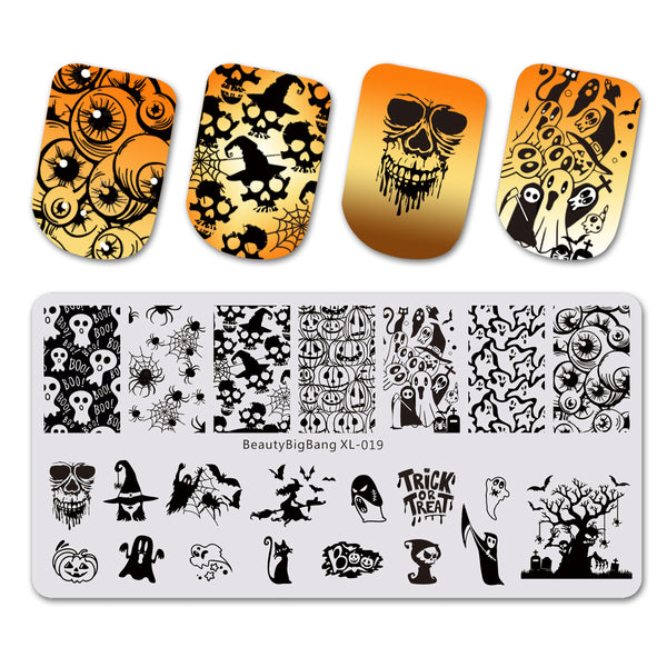 Spider Ghost Pattern Rectangle Nail Stamping Plate Halloween Theme Nail Art Tool BBBXL-019
