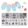 Xmas Bowknot Gift Theme Rectangle Nail Stamping Plate  Christmas Candle Snowman Design Nail Art Tool BBBXL-031