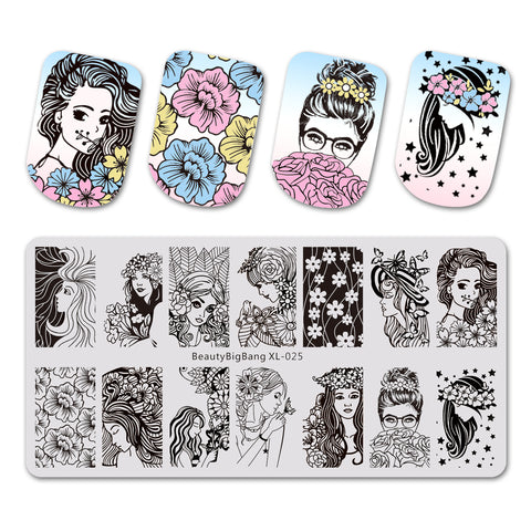 Girl And Flowers Art Stamping Plate BeautyBigBang BBBXL-025(US Warehouse)
