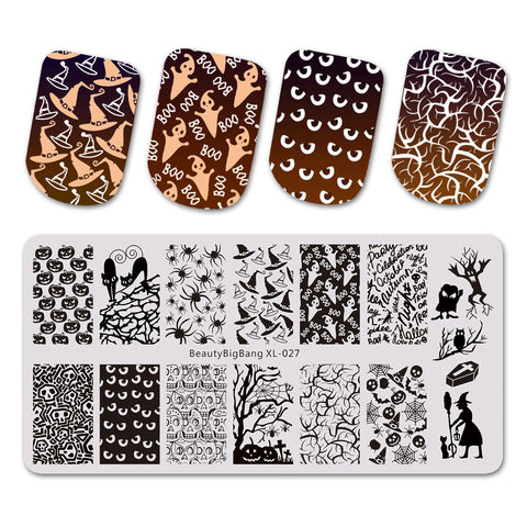 Halloween Cat Witch Theme Rectangle Nail Stamping Plate Pumpkin Design Nail Art Tool BBBXL-027