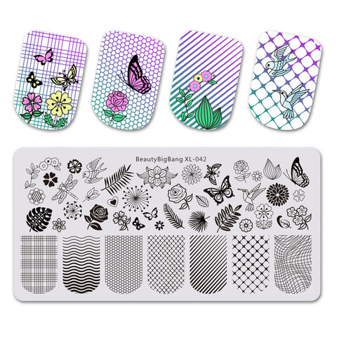 Dragonfly Flower Theme Rectangle Nail Stamping Plate Buttefly Design Nail Art Tool BBBXL-042