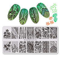Maple Leaf Theme Rectangle Nail Stamping Plate Cat Design Nail Art Tool BBBXL-051
