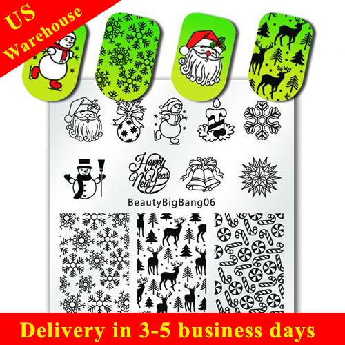 Christmas Nail Stamping Plate Xmas Deer Snowflake Snowman Holly Pattern For Manicure (US warehouse)