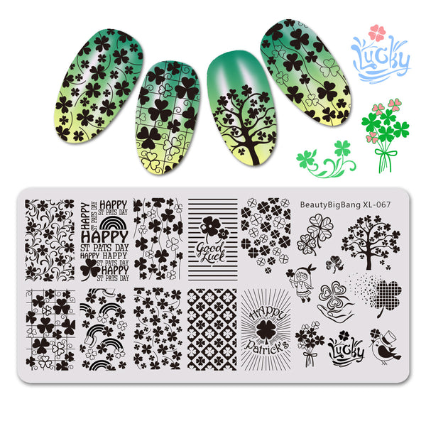Clover Theme Rectangle Leaf Nail Stamping Plate For St. Patrick's Day BBBXL-067