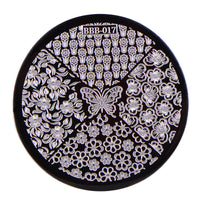 Flower Butterfly Pattern Circle Nail Art Stamping Plate BBB-017 (US Warehouse)