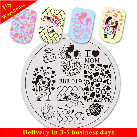 Heart Flower Pattern Circle Nail Art Stamping Plate For Mother's Day BBB-019 (US Warehouse)