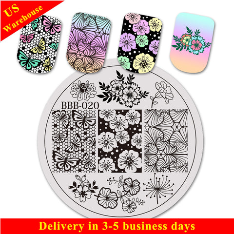 Flower Butterfly Design Circle Nail Art Stamping Plate For Manicure BBB-020 (US Warehouse)