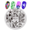 Fruit Beach Swimming Pattern Circle Nail Art Stamping Plate For Summer BBB-022 (US Warehouse)