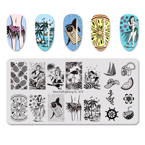 Fruit Beautiful Girl Design Rectangle Nail Art Stamping Plate For Summer BBBXL-071 (US Warehouse)