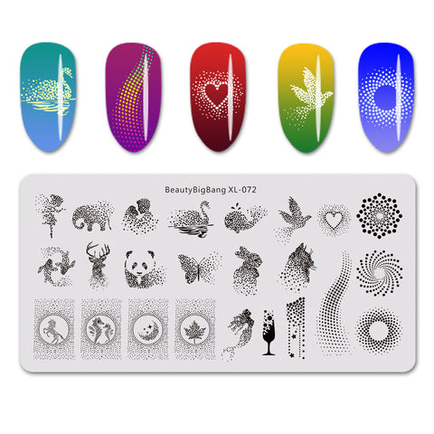 Geometry Animal Pattern Rectangle Nail Art Stamping Plate BBBXL-072 (US Warehouse)