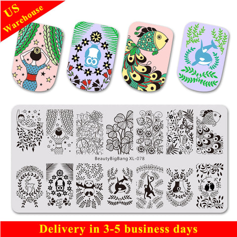 Leaves Theme Animals Pattern Rectangle Nail Art Stamping Plate BBBXL-078 (US Warehouse)