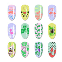 Summer Theme Flamingo Design Rectangle Nail Art Stamping Plate BBBXL-079 (US Warehouse)