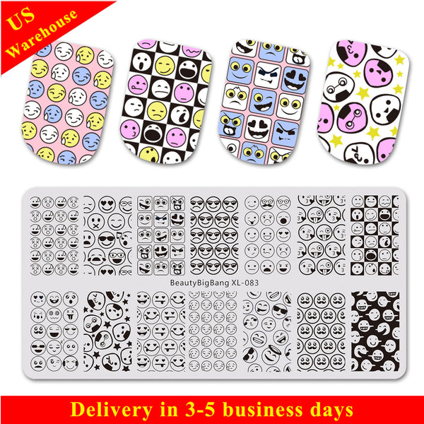 Emoji Facial Expression Round Nail Stamping Plate BBBXL-083(US Warehouse)