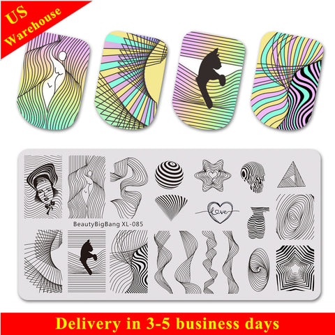 Geometric Line Wave Pattern Nail Stamping Plate BBBXL-085(US Warehouse)