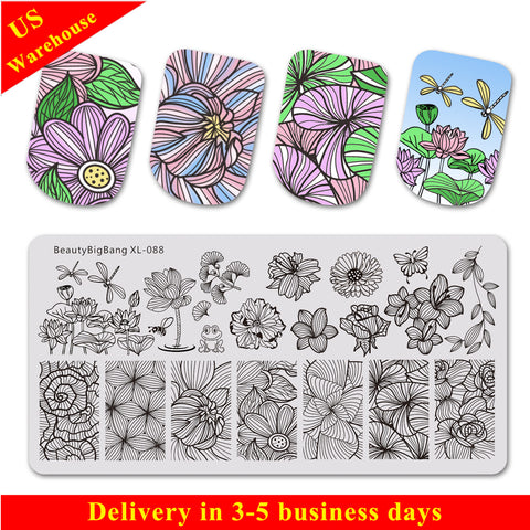 Lotus Line Flower Butterfly Manicure Nail Stamping Plate BBBXL-088(US Warehouse)