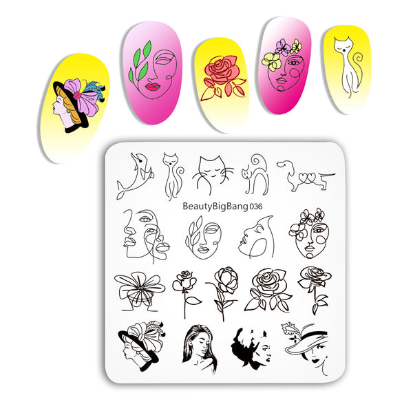 Flower Girl Animal Pattern Nail Stamp BBBS-036(US Warehouse)
