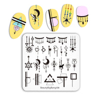 Geometric Tassel Line Elemental Nail Stamping Plates BBBS-038(US Warehouse)