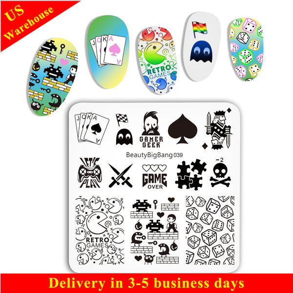 Nail Template Game Theme  Nail Stamping Plates BBBS-039(US Warehouse)