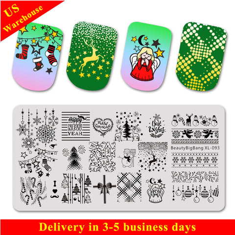 Christmas Festival Nail Art Stamping Plates BBBXL-093(US Warehouse)