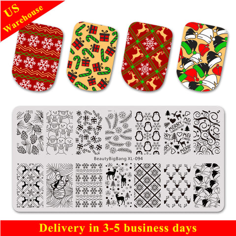 Christmas Nail Stamping Template Nail Stamp BBBXL-094(US Warehouse)