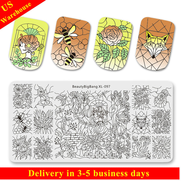 Flower Butterfly Mixed Pattern Nail Stamping Plates BBBXL-097(US Warehouse)
