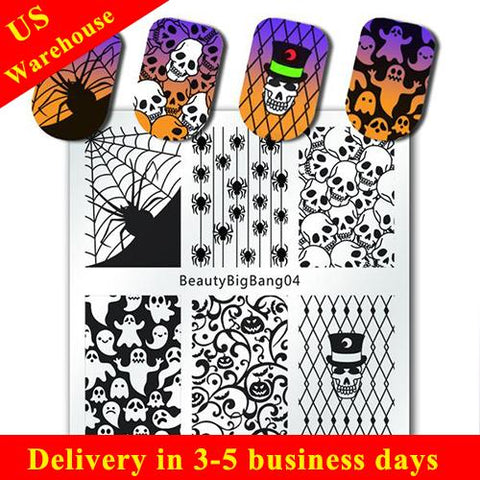 Halloween Nail Stamping Plate Skull Spider Cobweb Ghost Theme Plates (US warehouse)