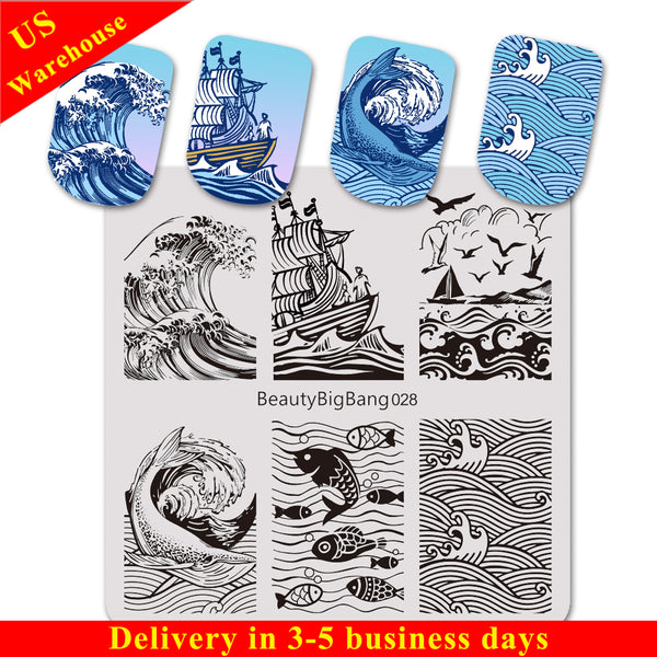 Ocean Theme Dolphin Fish Design Square Nail Art Stamping Plate BBBS-028 (US Warehouse)
