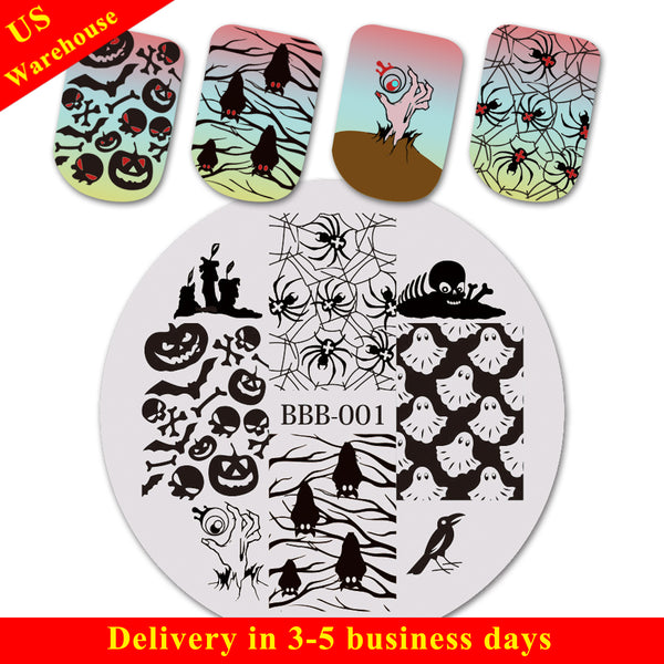 Halloween Crow Candle Theme Circle Nail Stamping Plate Ghost Design Nail Art Tool BBB-001