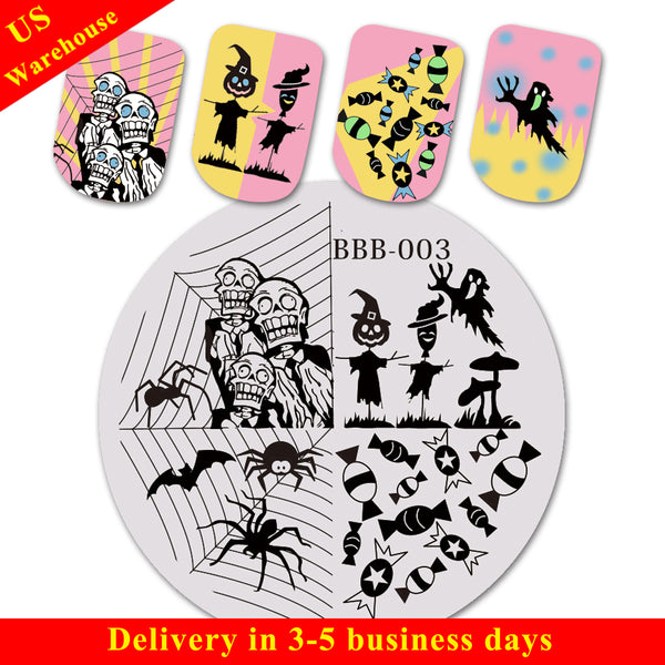 Halloween Zombie Candy Theme Circle Nail Stamping Plate Scarecrow Design Nail Art Tool BBB-003