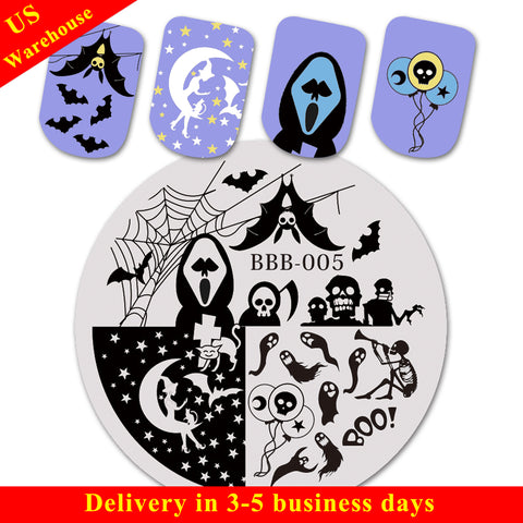 Halloween Moon Witch Theme Circle Nail Stamping Plate Bat Design Nail Art Tool BBB-005