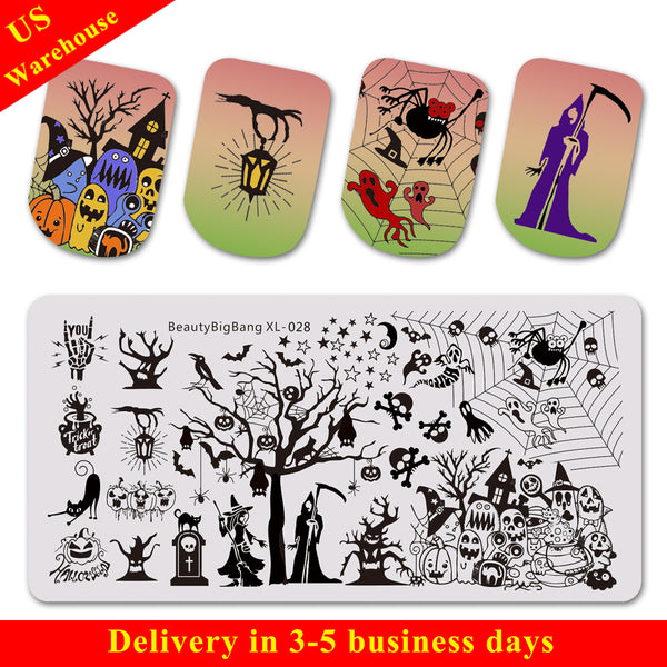Halloween Tombstone Owl Theme Rectangle Nail Stamping Plate Star Design Nail Art Tool BBBXL-028