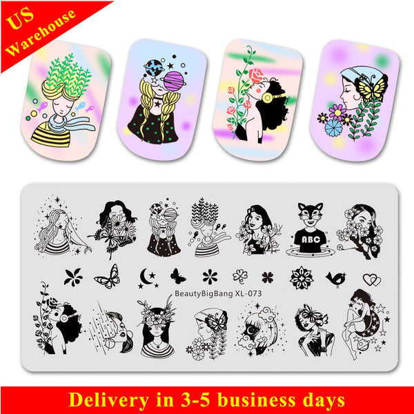 Young Girl Series Flower Pattern Rectangle Nail Stamping Plate BBBXL-073 (US Warehouse)