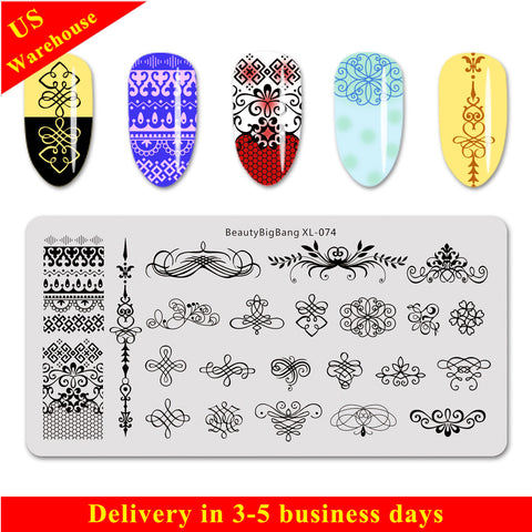 Geometric Theme Tree Branch Pattern Rectangle Nail Stamping Plate BBBXL-074 (US Warehouse)
