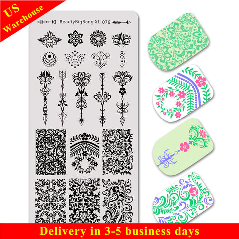 Arrow Pattern Vine Series Rectangle Nail Art Stamping Plate BBBXL-076 (US Warehouse)
