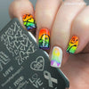 LGBT Pride Love Rainbow Square Nail Stamping Plate Heartbeat Theme For Manicure