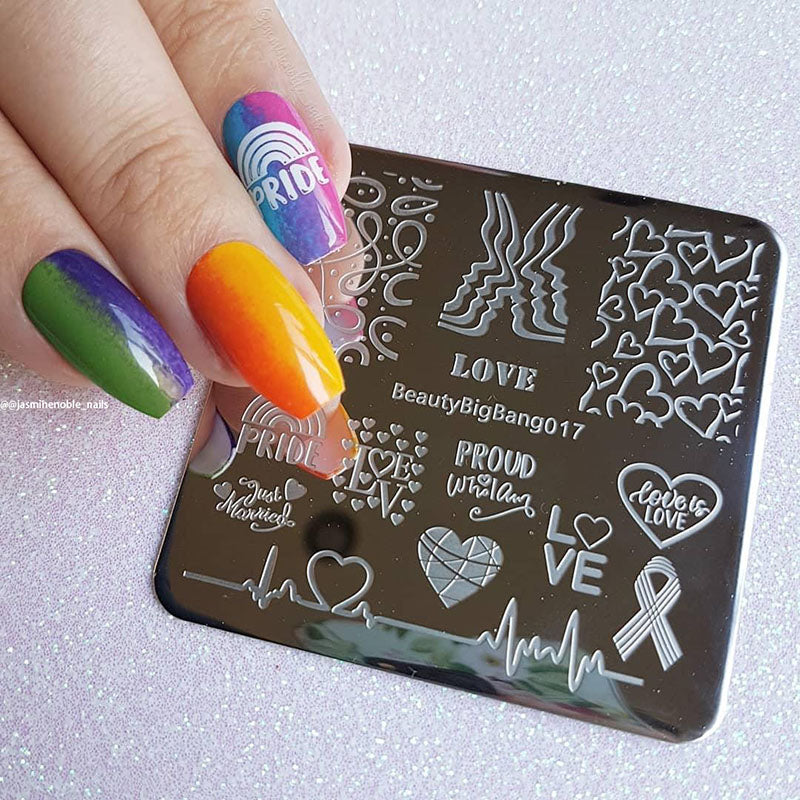 LGBT Pride Love Rainbow Square Nail Stamping Plate Heartbeat Theme ...