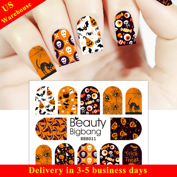 Skull Spider Candy Design Water Decals Transfer Halloween Nail Art