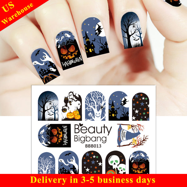 Pumpkin Star Owl Design Water Decals Transfer Halloween Nail Art