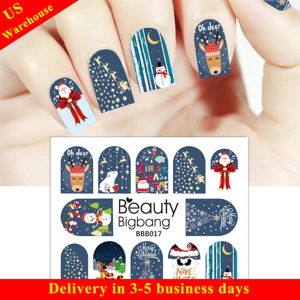 Snowman Deer Star Water Decals Transfer Christmas Nail Art Stickers