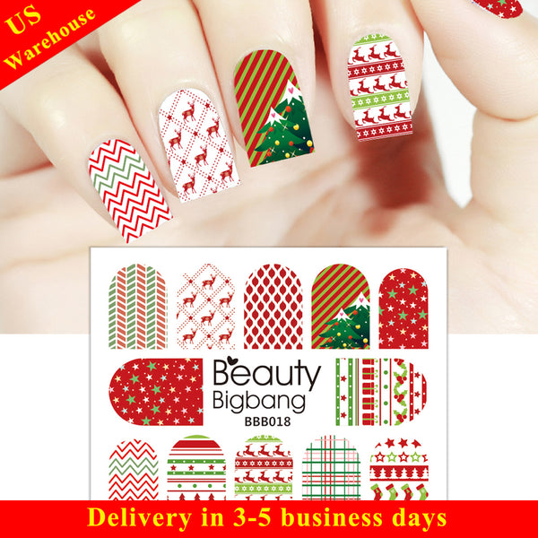 Wave Stripe Christmas Stocking Water Decals Transfer Christmas Nail