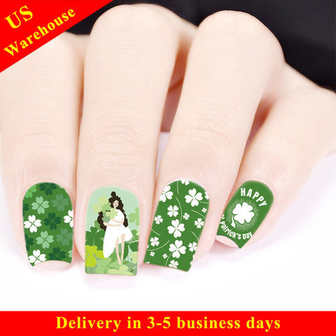 Water Decals Transfer Nail Art Stickers Four-leaf Clover Theme For St. Patrick's Day BBB021 (US Warehouse)
