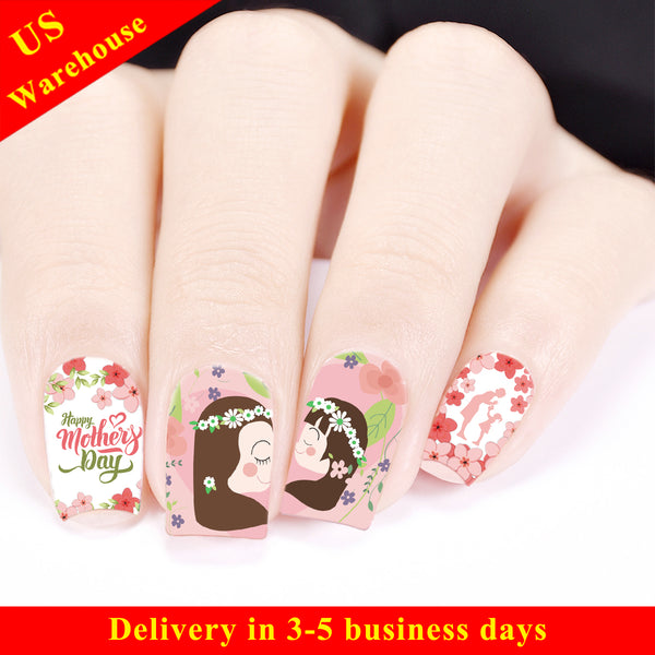 Flower Design Water Decals Transfer Nail Art Stickers For Mother's Day BBB023 (US Warehouse)