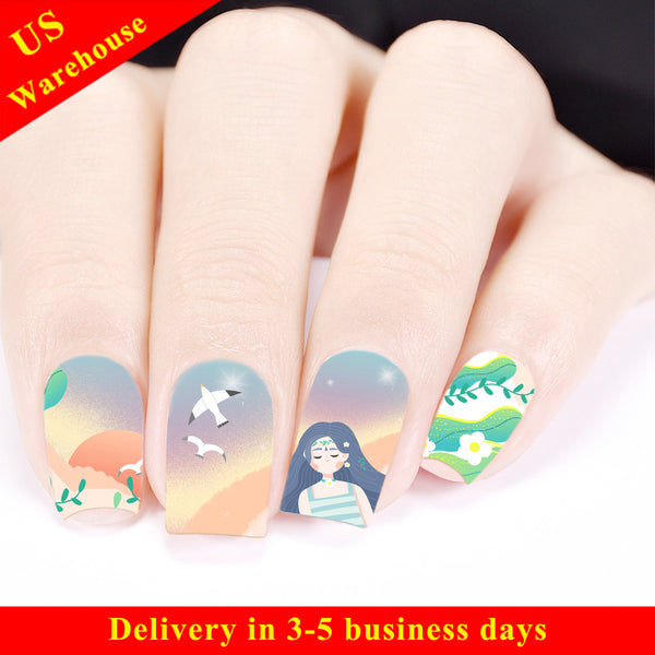 Beach Theme Water Decals Transfer Nail Art Stickers For Summer BBB024 (US Warehouse)